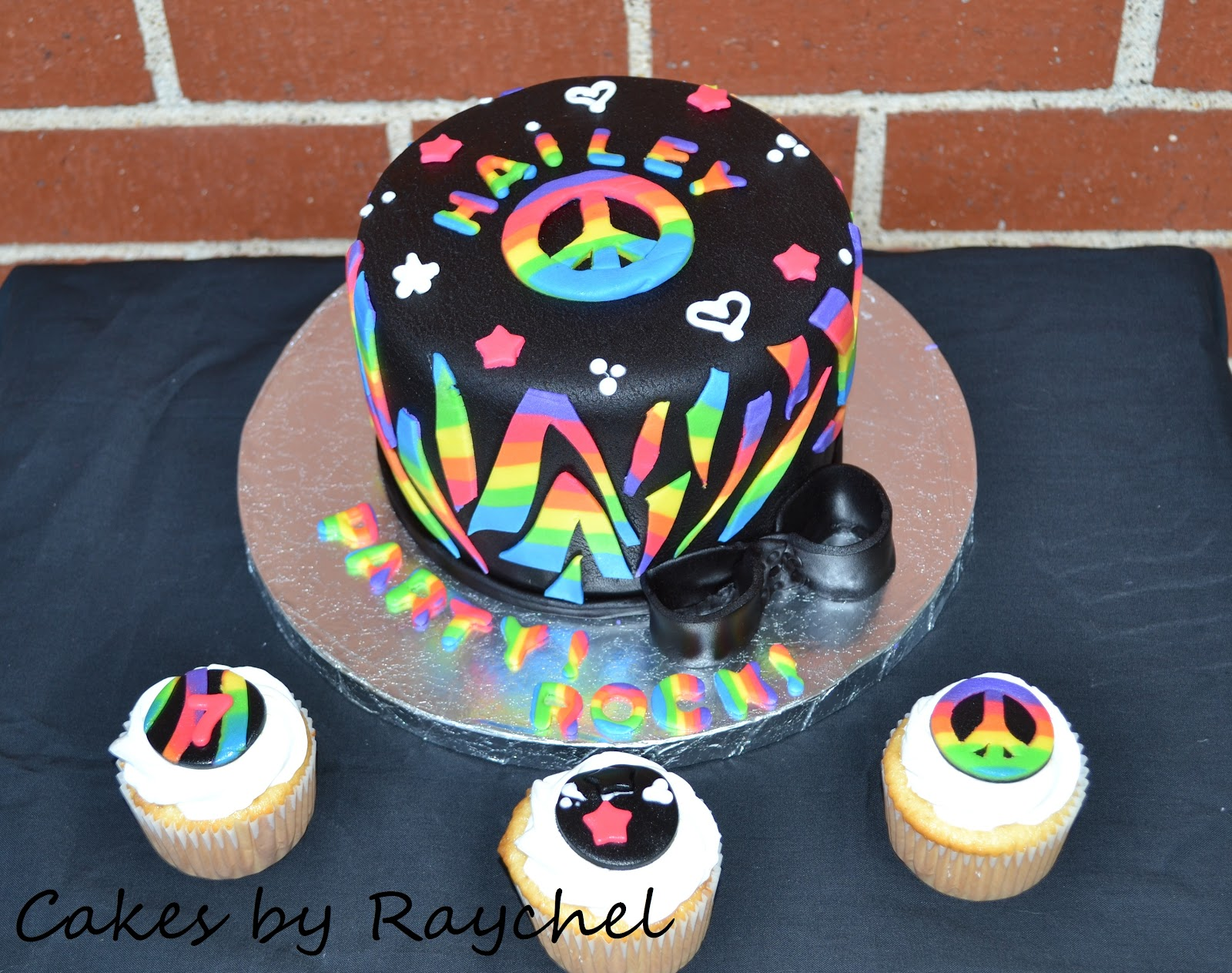 My Creative Way Multi Color Peace Signs Zebra Cake and Cupcakes