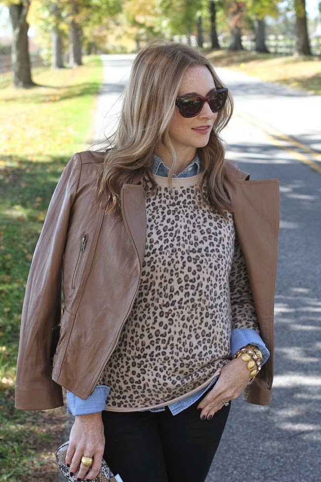 ray ban sunglasses, jcrew chambray shirt, autumn leopard print cashmere, tan leather jacket, julie vos jewelry