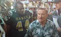Robin Williams plays football coach in Snickers commercial
