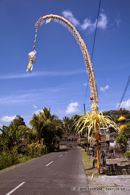 A Penjor during the Galungan festival, Bali
