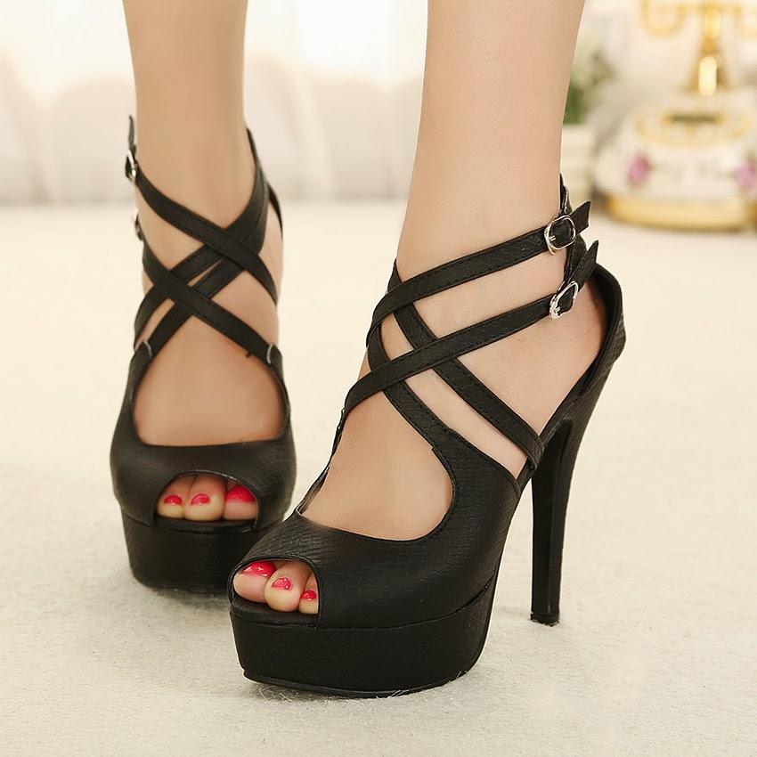 Black prom heels open toe