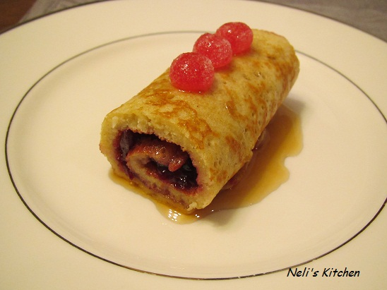 Pancake Roll with Cherry Jam