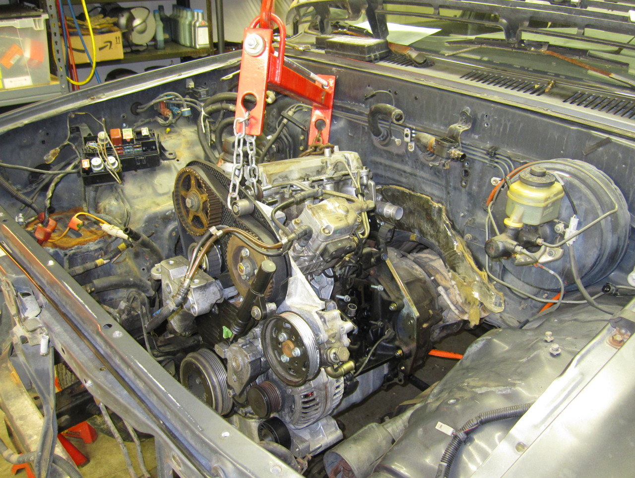 1203dp Reinforcing Our 1991 Suburbans Frame in addition MMK5 likewise Toyota Diesel Conversion Finished 13098 besides 2000 Extra Cab S10 5 3 Swap Cold Ac Fl 525275 additionally Ford Sas Bf150. on toyota tacoma engine swap