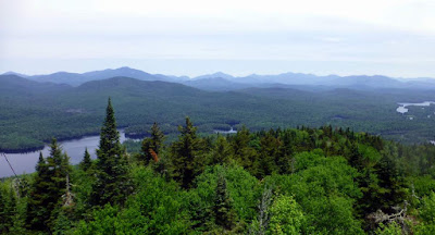 View of the High Peaks from Goodnow Mountain's fire tower, Sunday 06/14/2015.  The Saratoga Skier and Hiker, first-hand accounts of adventures in the Adirondacks and beyond, and Gore Mountain ski blog.