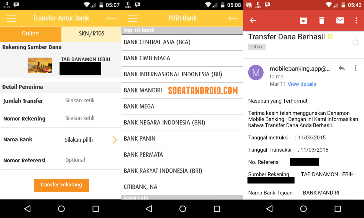 Cara Transfer Antar Rekening & Antar Bank Menggunakan Aplikasi Android D-Mobile Danamon Mobile Banking