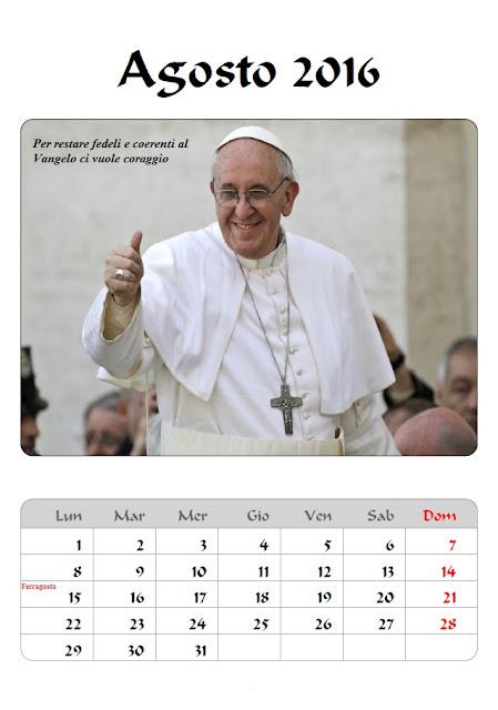 Calendario 2016 Papa Francesco - agosto - frasi celebri