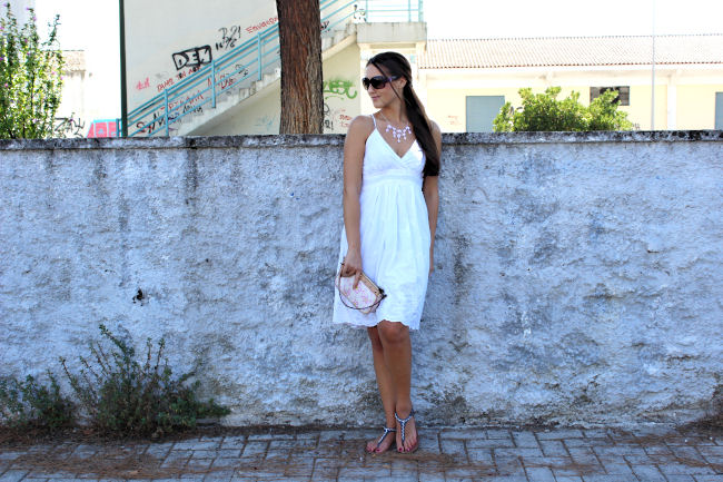 Outfits with white dress. Summer white dress. Louis Vuitton purse. Avon flats. Avon jewelry. Outfit of the day. OOTD.