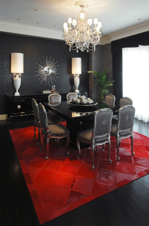 Lush fab glam blogazine interior design bold and dramatic black glamour - Black and silver dining room set designs ...