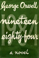 The cover of the first British edition of 1984, a novel by George Orwell.