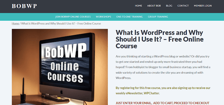 BobWP free WordPress Course
