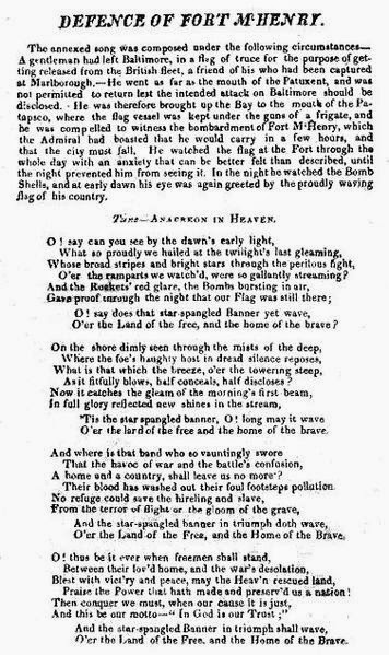 One of two surviving copies of the 1812 broadside