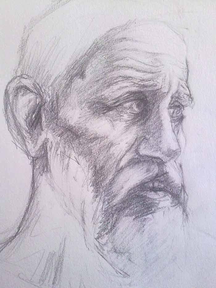 boceto para retrato de anciano con barba