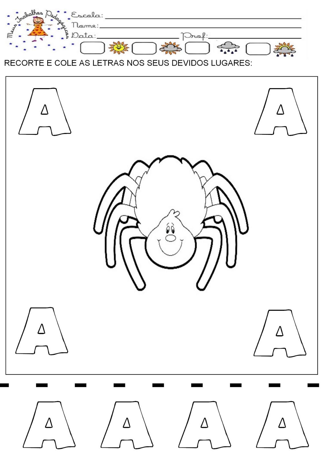 Favoritos Meus Trabalhos Pedagógicos ®: Atividades recorte e cole - Alfabeto AE59