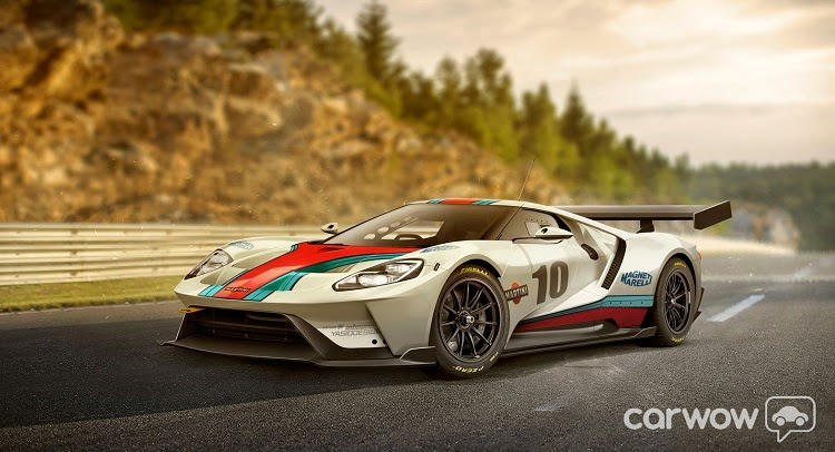 2017 ford gt rendered in martini gulf livery. Black Bedroom Furniture Sets. Home Design Ideas