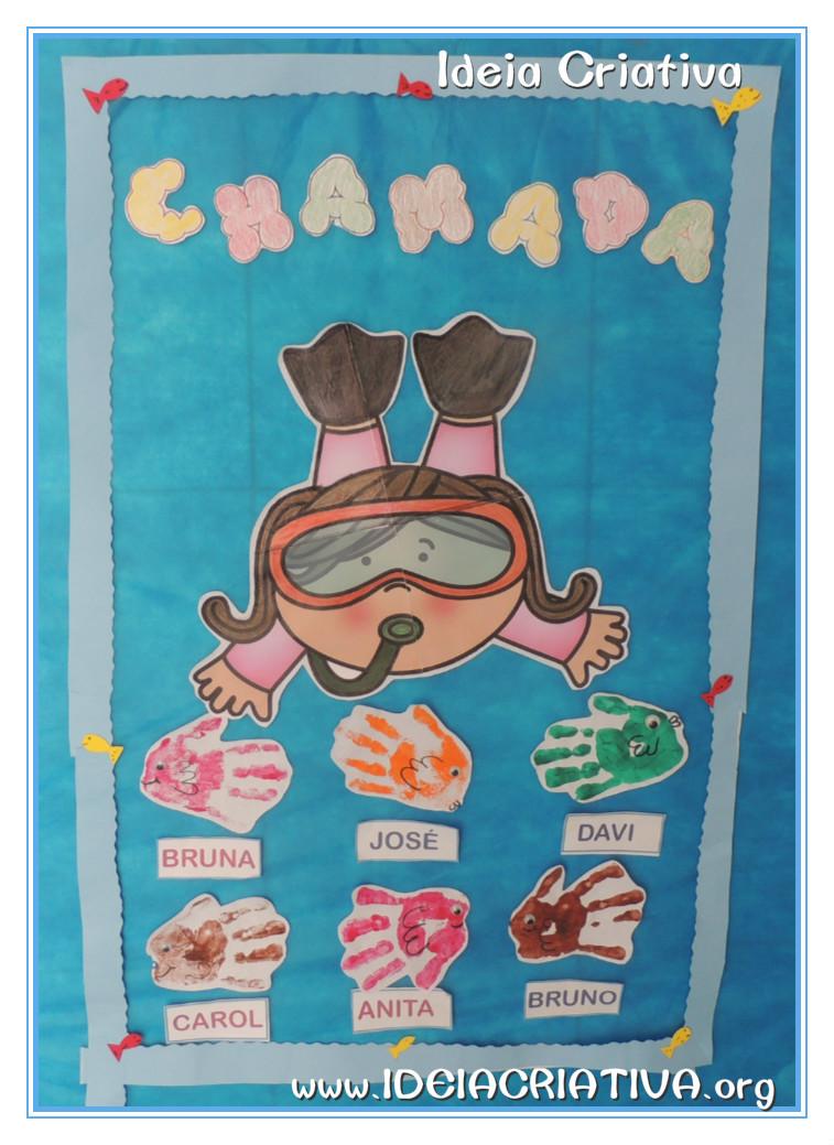 Modelo Chamadinha Educação Infantil Fundo do Mar