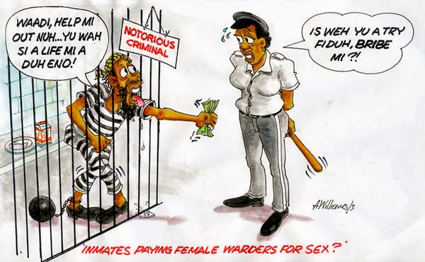 image Lesbian prison guard with female inmate