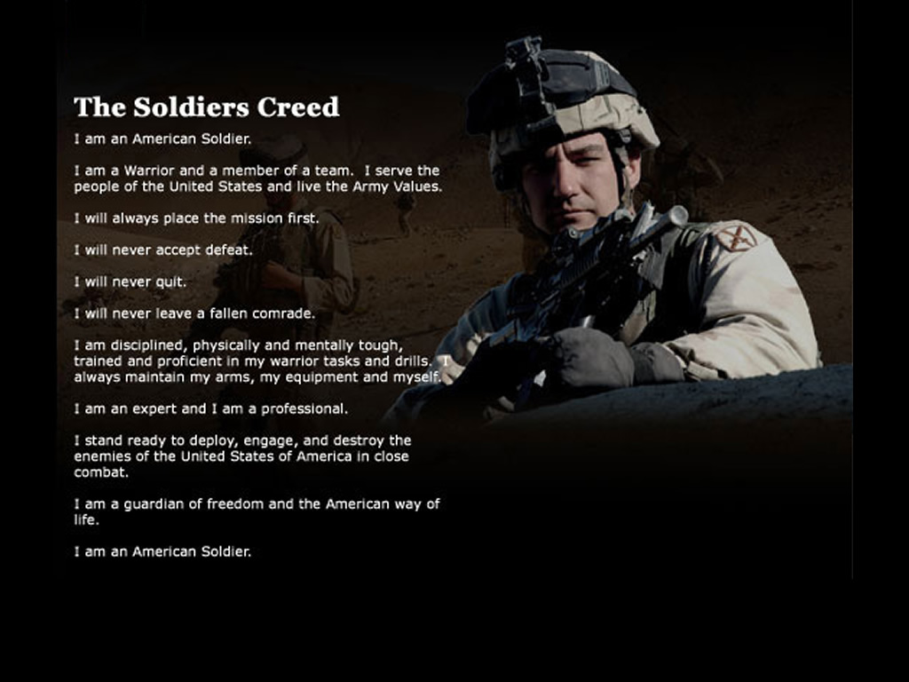 creed essay soldier The nco: army leader, servant leader the term servant leadership has been in use since dr robert greenleaf wrote the essay along with the soldiers' creed.