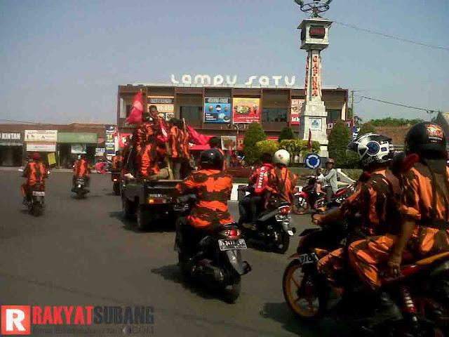 Peringati Hari Kesaktian Pancasila Ormas PP Subang Konvoi Keliling Kota