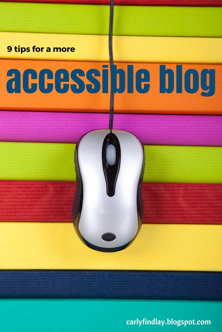 Image of compeer mouse on coloured stripes, with text '9 tips for a more accessible blog'