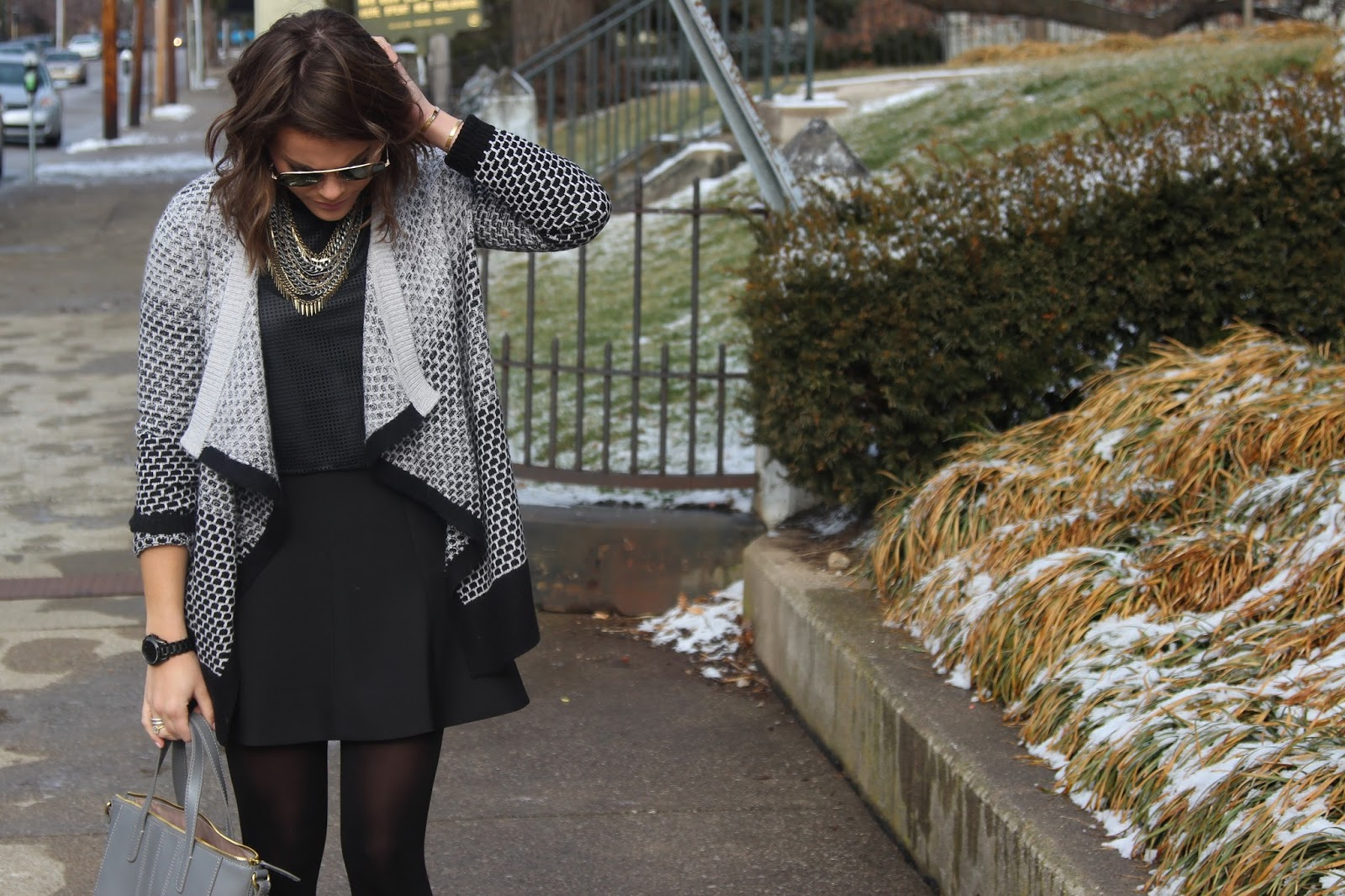 How to wear a crop top in the winter:: www.glitterandgingahm.com  | LOFT Lou & Grey Cardigan, Banana Republic Crop Top, J. Crew Skirt, J. Crew Factory Purse, ALDO Booties, Jenny Bird Artemis Collar