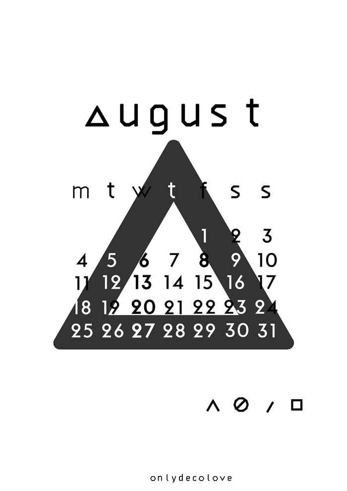 Typography Calendar Free : August free typographic printable calendar only