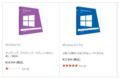 Microsoft Store におけるWindows 8.1とWindows 8.1 Proの価格 (2015/8/7時点)