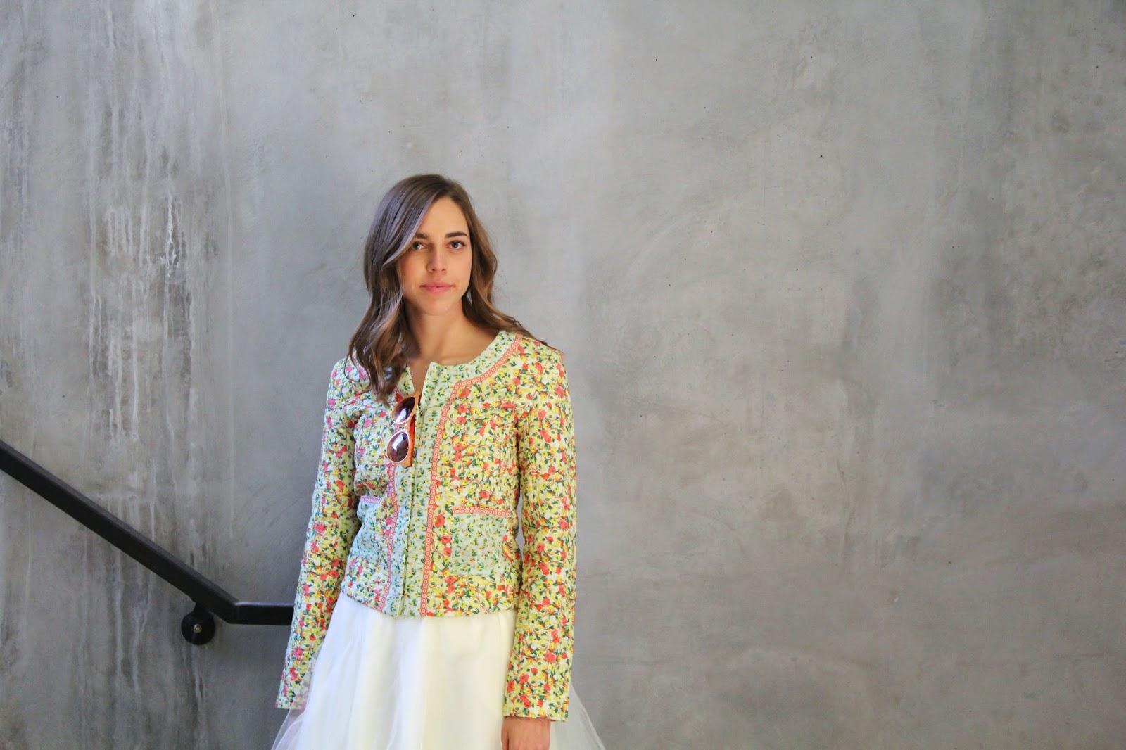 Spring Fashion, Cream Skirt, Floral Print, Orange Sunglasses, Tulle Skirt, Tulle, Girl, Woman