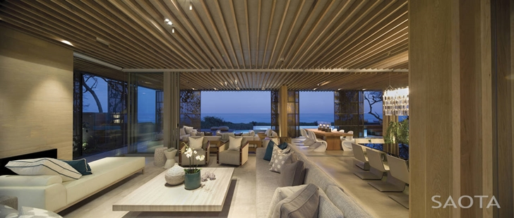 Living room in African modern villa in Durban by SAOTA