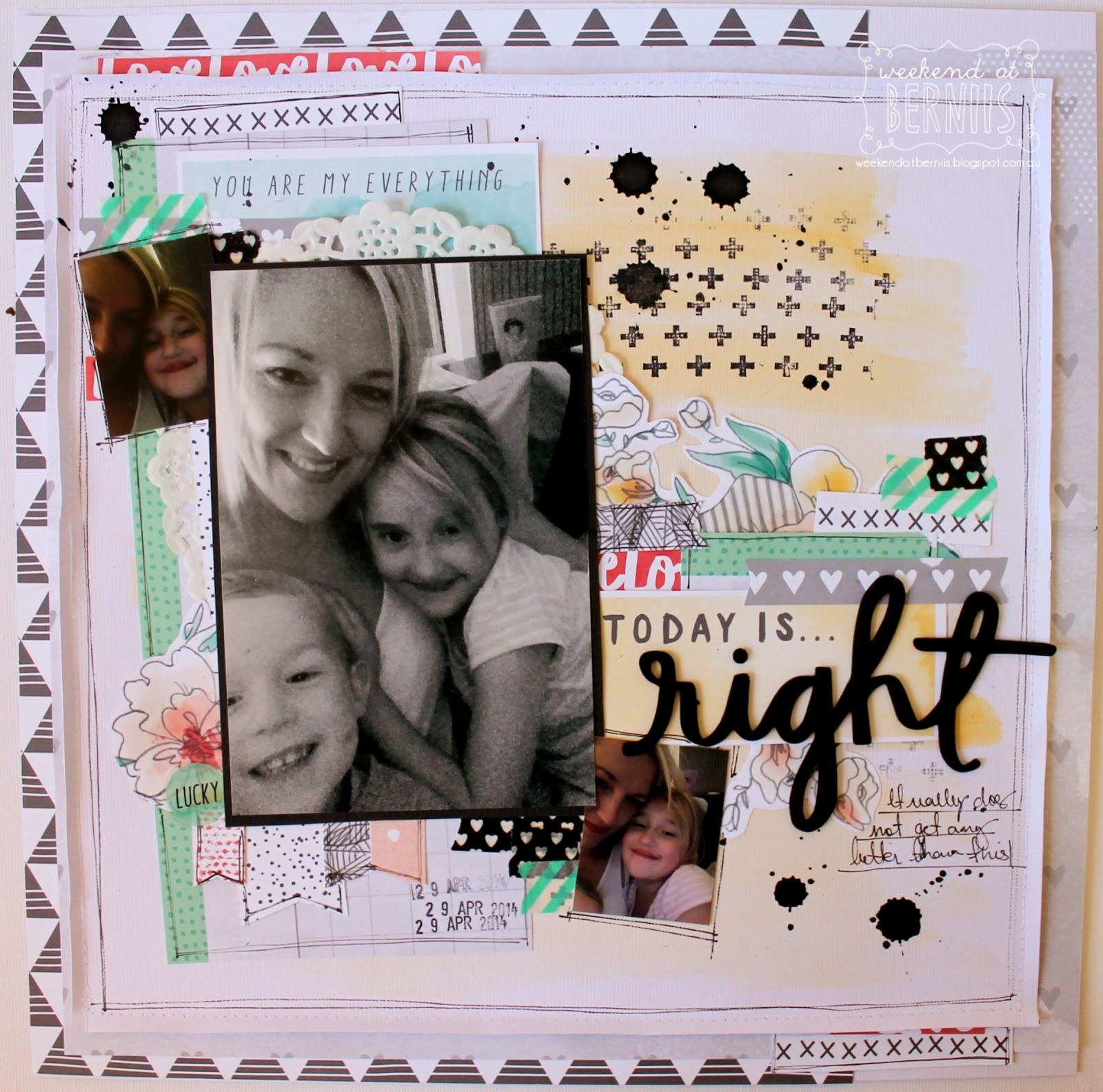 Today is right layout by Bernii Miller using Amy Tangerine Stitched collection for The Stamp Spot.