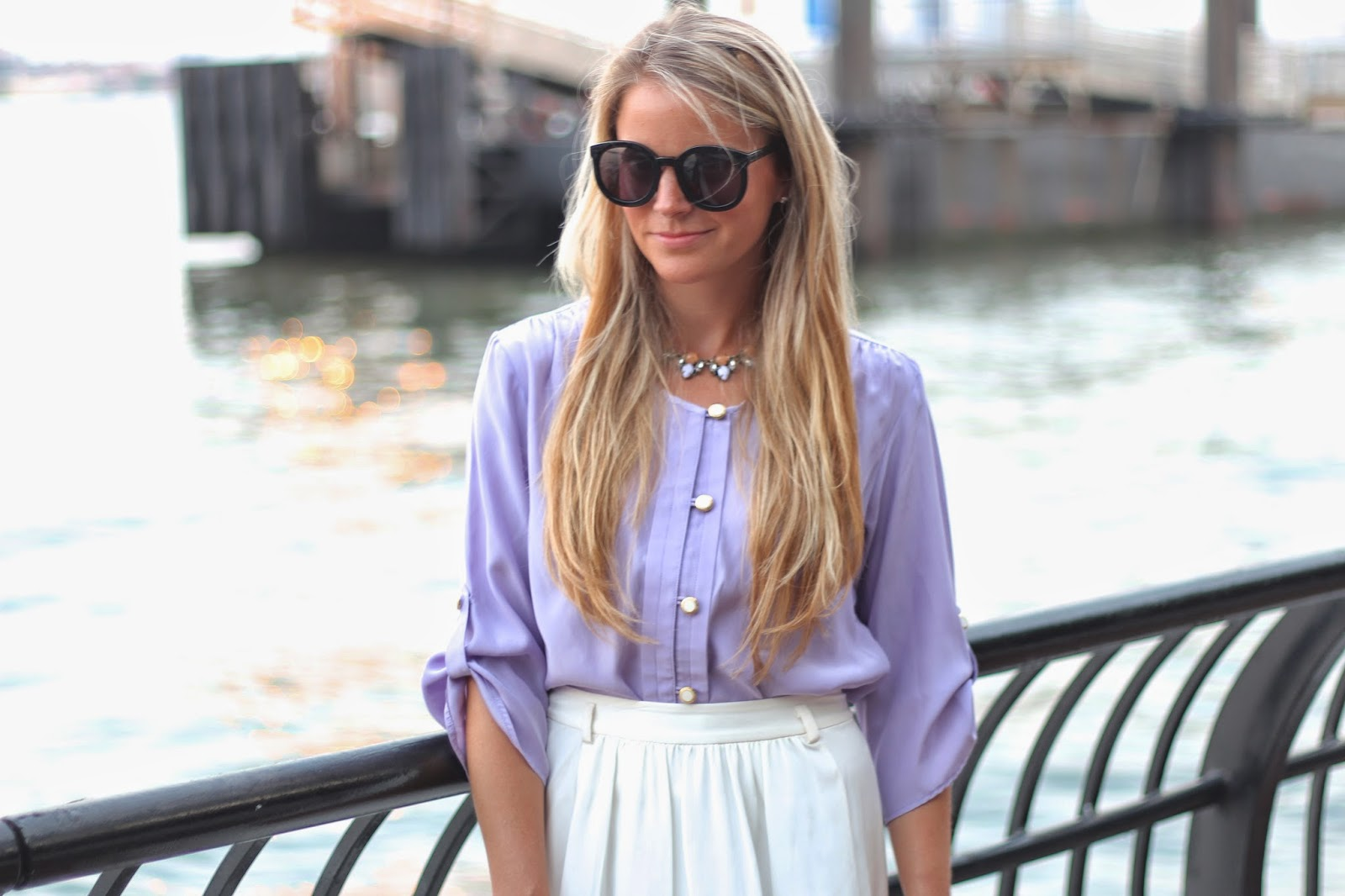 ellelauri, tori blouse, lobster rolls, statement necklace