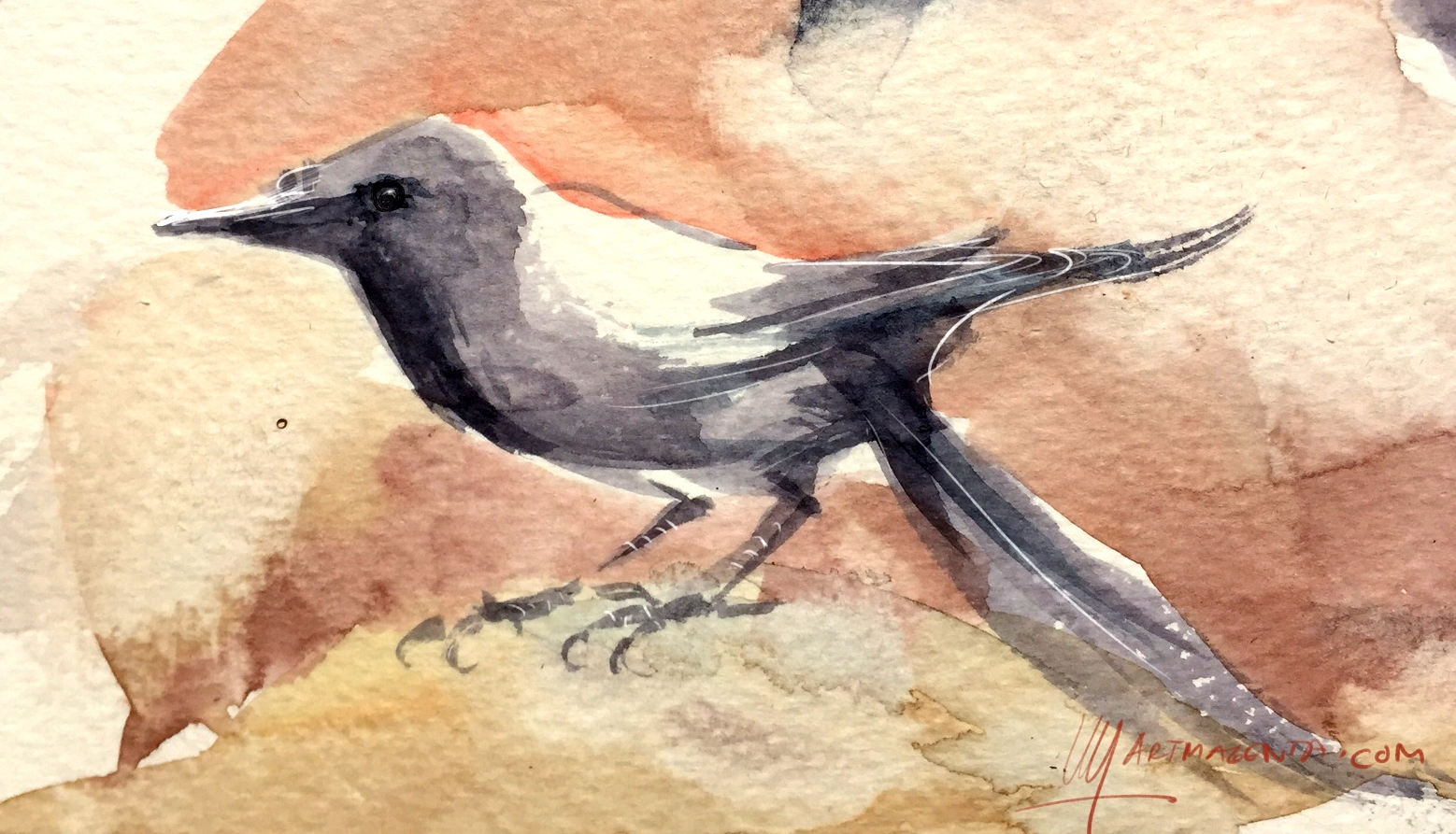 Watercolor Bird Doodle by Artmagenta