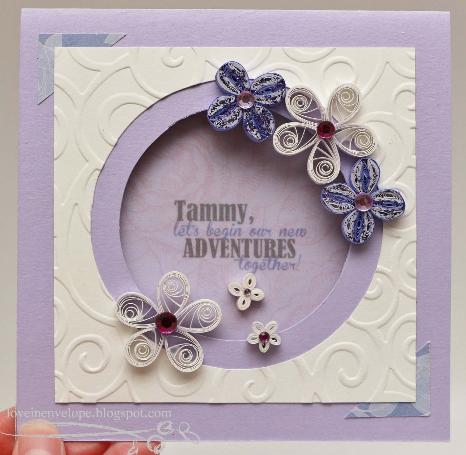 Love in envelope quilling purple and white flowers circle window card quilling purple and white flowers circle window card kristyandbryce Images