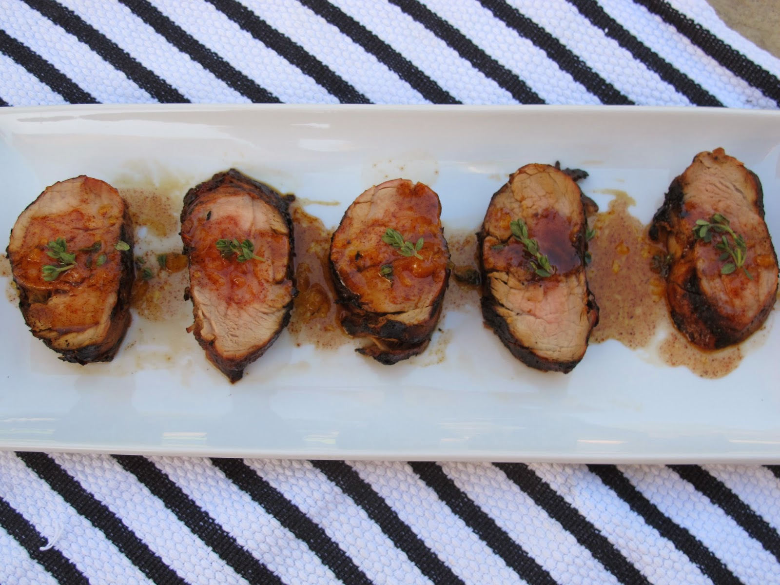Peach-Maple-Chile Glazed Grilled Pork Tenderloin