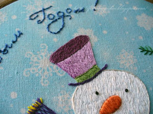 """Вышивка гладью """"Зимняя сказка"""" (Снеговик) - Авторский дизайн"""