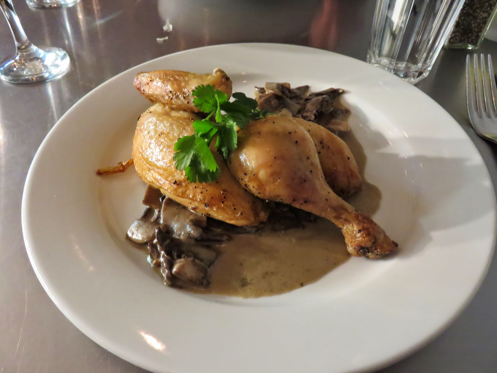 Roasted chicken at Peperina Garden Bistro in Dublin