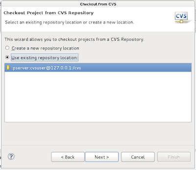 choose Use existing repository location