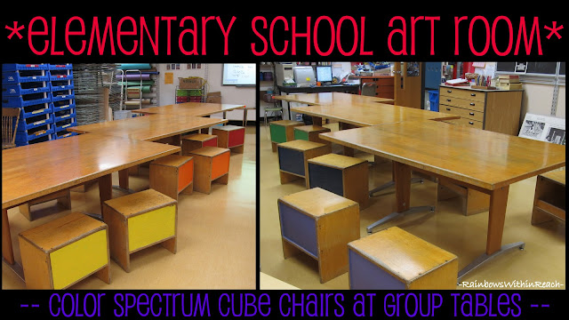 photo of: Elementary Art Room Furniture (via Art Room RoundUP from RainbowsWithinReach)