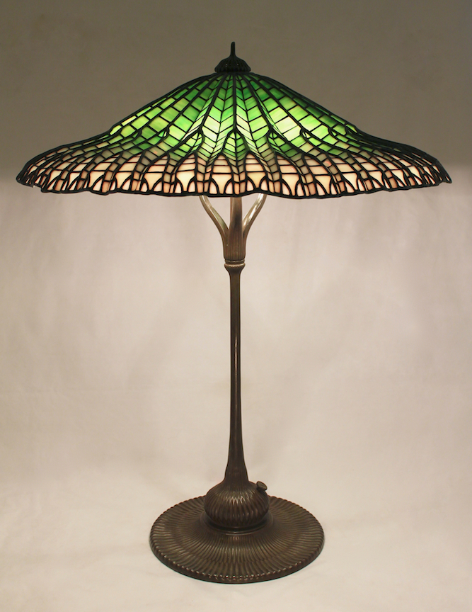 25 mandarin lotus lamp part 2 the completed shade was mated with the mandarin lotus base or ribbed lotus base which was specifically designed for this shade by tiffany studios aloadofball Choice Image