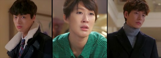 Hong Jin Kyung 홍진경 as Bok Ja, stares longingly at Chun Yoon Jae and Lee Hwi Kyung played by Park Hae Jin 박해진.
