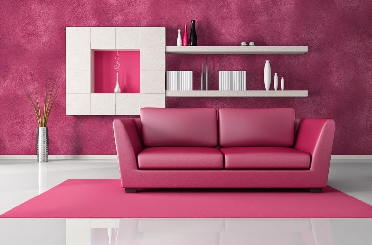 Living Room Paint Colors: Flashy Pink Design