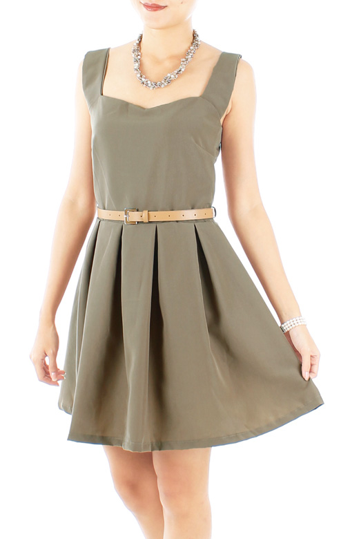 Ash Sweetheart Neckline Pleated Flare Dress