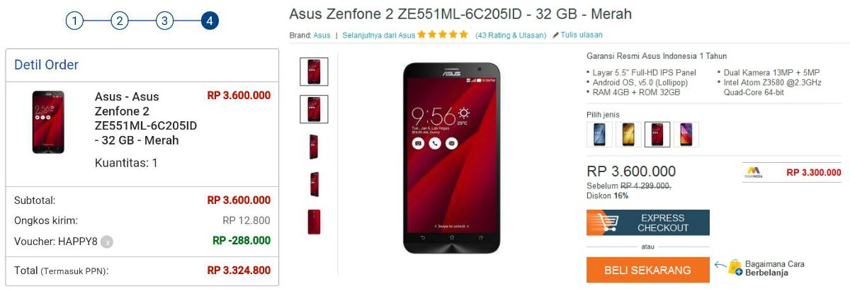 Harga ASUS Zenfone 2 ZE551ML September 2015 RAM 4GB Memori 32GB Garansi Resmi Hanya Rp 3,3 Jutaan di Lazada, Mau?