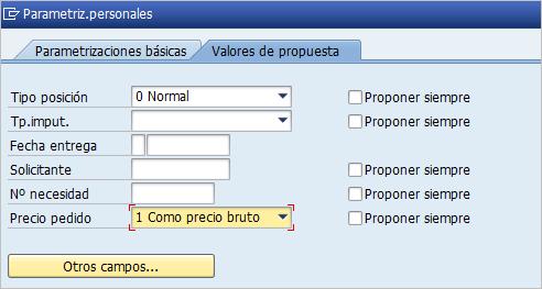 Parametrización personal solicitud de pedido