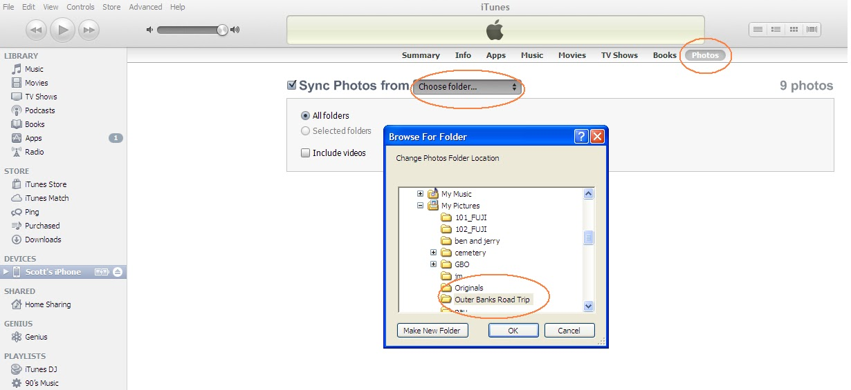 how to put photos from my pc to iphone