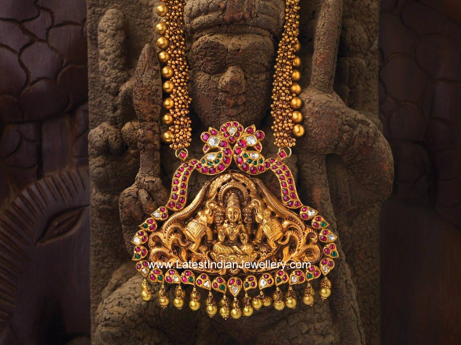 gold beads Lakshmi pendant haram