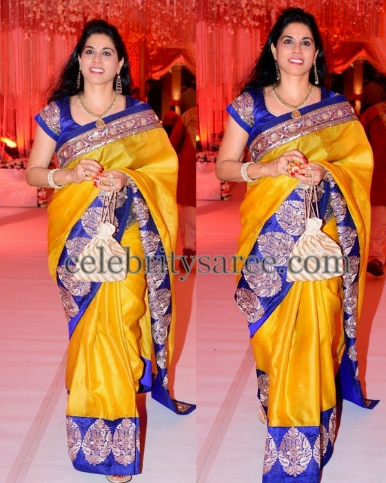 Mustard Silk Saree Blue Border