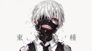 Kaneki Ken jako ghul na jasnej tapecie z anime TG