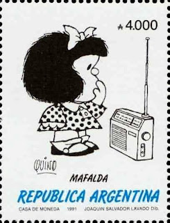 Sello de Mafalda escuchando la radio