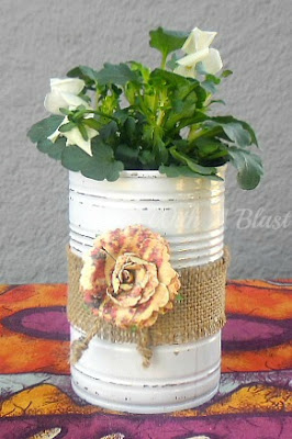 With A Blast: Pretty Plant Pots {Re-Cycled Cans}   #recycling #planters #crafts #cancrafting #decoupage