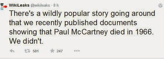 Paul McCartney  no murio, segun wikileaks en twitter